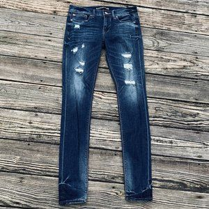 Express Jeans Mid Rise Distressed Denim Legging 4L